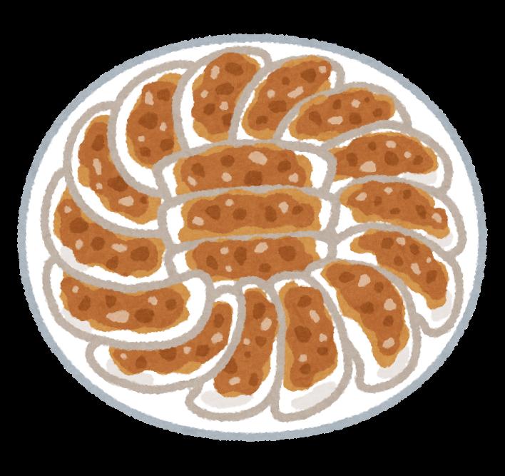 円盤状に盛り付けられた餃子